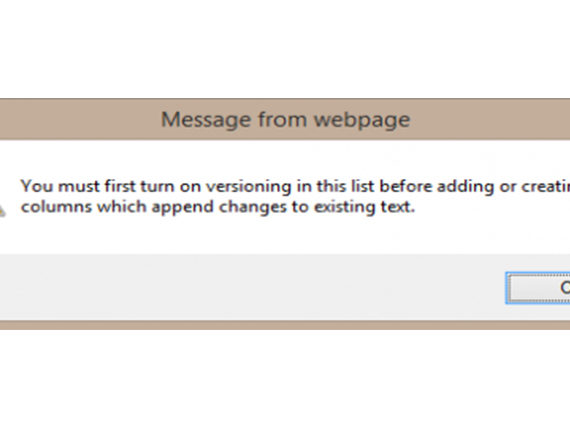 sharepoint warning - you must first turn off versioning